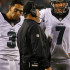 PHILADELPHIA, PA - SEPTEMBER 20: Head coach Chip Kelly of the Philadelphia Eagles talks with quarterbacks Mark Sanchez #3 and Sam Bradford #7 during a timeout against the Dallas Cowboys during the fourth quarter of a football game at Lincoln Financial Field on September 20, 2015 in Philadelphia, Pennsylvania. The Cowboys defatted the Eagles 20-10. (Photo by Rich Schultz /Getty Images)