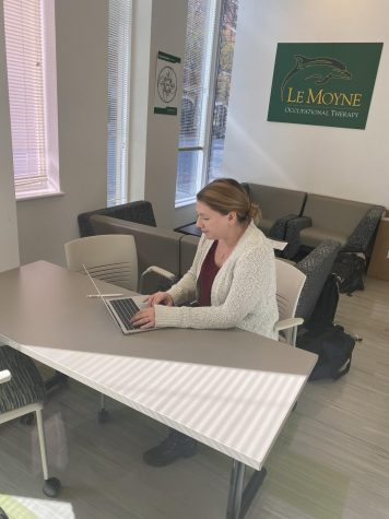 Lydia Sheperd, a first year student in the Le Moyne College Occupational Therapy program, doing work on her laptop in the student common area at Le Moyne's OT site in downtown Syracuse.